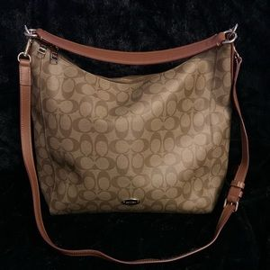 Large tan zippered Coach tote